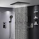 povoljno Mjerači temperature-Slavina za tuš - Suvremena Slikano završi Sustav za tuširanje Keramičke ventila Bath Shower Mixer Taps / Brass / Jedan obrađuju tri rupe
