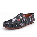 ราคาถูก รองเท้าแตะ & Loafersสำหรับผู้ชาย-สำหรับผู้ชาย รองเท้าสบาย ๆ ผ้าใบ ตก รองเท้าส้นเตี้ยทำมาจากหนังและรองเท้าสวมแบบไม่มีเชือก สีดำ / น้ำเงินเข้ม