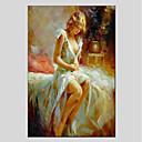 baratos Pinturas a Óleo-Pintura a Óleo Pintados à mão - Pessoas Modern Tela de pintura