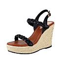 povoljno Ženske sandale-Žene Cipele Brušena koža Ljeto Udobne cipele Sandale Wedge Heel Crn