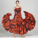 hesapli Balo Dansı Giysileri-Balo Dansı Elbiseler Kadın's Eğitim / Performans Buz İpek Tema / Baskı Uzun Kollu Yüksek Elbise