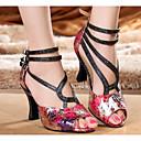 abordables Chaussures & Sacs-Femme Polyuréthane Chaussures Latines Talon Mince haut talon Noir / Rouge / Utilisation / Cuir / Entraînement