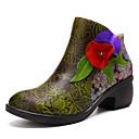 olcso Női csizmák-Női Közepesen magas szárú bakancs Nappa Leather Tavasz & Ősz Vintage Csizmák Vaskosabb sarok Bokacsizmák Szatén virág Zöld