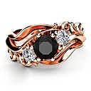 cheap Rings-Women's Black Obsidian Vintage Style Ring - Rose Gold Plated, Imitation Diamond Petal Korean, Fashion, Elegant 6 / 7 / 8 / 9 / 10 Rose Gold For Night out&Special occasion Date
