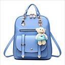 זול אופנה תרמילים-PU רוכסן תיק לבית הספר צבע אחיד יומי כחול סקיי / Wine / כחול ים