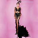 billige Dansetilbehør-Danseklær Eksotisk Dancewear / Rhinestone Bodysuit Dame Ytelse Spandex Fjær / pels / Krystall / Rhinestone Langermet Kjole