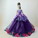 preiswerte Marionetten-Kleider Kleid Für Barbie-Puppe Violett Tüll / Spitze / Seide / Baumwolle Kleid Für Mädchen Puppe Spielzeug