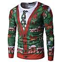 baratos Luminárias de Teto-Homens Camiseta - Natal Floco de Neve Decote Redondo Floco de Neve / Manga Longa / Outono / Inverno