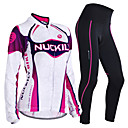 cheap Cycling Jersey & Shorts / Pants Sets-Nuckily Men's / Women's Long Sleeve Cycling Jersey with Tights - Purple Geometic / Floral / Botanical Bike Clothing Suit, Windproof, Thermal / Warm, Anatomic Design, Fleece Lining, Breathable