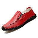 זול נעלי בד ומוקסינים לגברים-בגדי ריקוד גברים נעלי נוחות PU סתיו יום יומי נעליים ללא שרוכים ללא החלקה שחור / חום / אדום