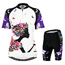 cheap Cycling Jersey & Shorts / Pants Sets-Arsuxeo Women's Short Sleeve Cycling Jersey with Shorts - White / Black Bike Clothing Suit, Breathable, 3D Pad, Quick Dry, Anatomic Design Polyester Butterfly / Stretchy
