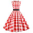 ieftine Regina Vintage-Pentru femei Ieșire Vintage Șic Stradă Zvelt Linie A Rochie - Imprimeu, Bloc Culoare Lungime Genunchi
