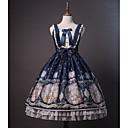 baratos Vestidos Lolita-Doce Doce Chifon Renda Feminino Vestidos Cosplay Azul / Tinta Azul Sem Mangas Sem Manga Midi Fantasias