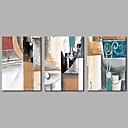 tanie Obrazy olejne-Hang-Malowane obraz olejny Ręcznie malowane - Abstrakcja Nowoczesny Płótno / Trzy panele