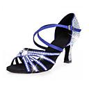 رخيصةأون أحذية لاتيني-نسائي ستان أحذية رقص بريق مميز / مشبك / تفاصيل كريستال كعب كعب مثير مخصص أسود / بني / أزرق / أداء / جلد