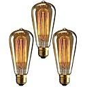 baratos Incandescente-3pçs 40 W E26 / E27 ST64 Branco Quente 2200-2700 k Retro / Regulável / Decorativa Incandescente Vintage Edison Light Bulb 220-240 V