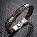 cheap Men's Bracelets-Men's Braided Vintage Bracelet Leather Bracelet Loom Bracelet Titanium Steel Gold Plated Unique Design Vintage Chinoiserie Bracelet Jewelry Black / Brown For Daily Street