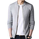 cheap Men's Sneakers-Men's Daily Basic Solid Colored Long Sleeve Regular Cardigan, Round Neck Gray / Wine / Khaki XL / XXL / XXXL