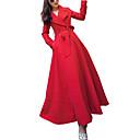 abordables Bolsos de Mano y Bolsos de Noche-Mujer Diario Chic de Calle Largo Gabardina, Un Color Cuello Vuelto Manga Larga Poliéster Rojo L / XL / XXL