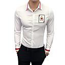 abordables Tops, Pantalones & Short para Correr-Hombre Trabajo Camisa, Cuello Inglés Delgado Bloques / Manga Larga