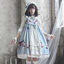 preiswerte Lolita Kleider-Niedlich Lolita Kleid Blumig Bänder Elegant Weiblich Kleid Cosplay Weiß / Blau Eine Glocke 3/4-Ärmel Midi Kostüme