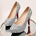 olcso Menyasszonyi cipők-Női Kényelmes cipők Vászon Tavasz Esküvői cipők Tűsarok Arany / Ezüst / Piros