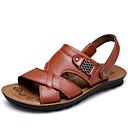 Недорогие Мужские сандалии-Муж. Комфортная обувь Кожа Лето На каждый день Сандалии Дышащий Черный / Коричневый