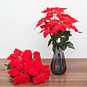 cheap Artificial Flower-Artificial Flowers 1 Branch Classic European Poinsettia Tabletop Flower