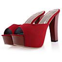 hesapli Kadın Sandaletleri-Kadın's Ayakkabı Saten Bahar Sandaletler Stiletto Topuk Günlük için Siyah / Kırmzı