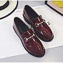 olcso Női Oxford cipők-Női Kényelmes cipők Lakkbőr Tél Papucsok & Balerinacipők Vaskosabb sarok Fekete / Bor