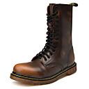 preiswerte Herren Stiefel-Herrn Fashion Boots Leder Winter Freizeit / Britisch Stiefel warm halten Mittelhohe Stiefel Schwarz / Braun / Wein