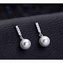 abordables Pulseras-Mujer Blanco Perlas de agua dulce Clásico Pendientes colgantes - Perla, S925 Sterling Silver damas, Elegante, Colgante Joyas Plata Para Cita Trabajo / 1 Par