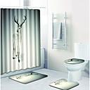 tanie Zasłony prysznicowe-1 zestaw Kreskówki Maty łazienkowe 100g / m2 Poliester Stretch Knit Zwierzę Prostokątna Łazienka Nowoczesne