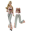 baratos Acessórios de Boneca-Calças / Blusas Calças / Blusa 2 pcs Para Boneca Barbie Rosa e Verde Tecido TNT / Pano Demin Blusa / Calças Para Menina de Boneca de Brinquedo