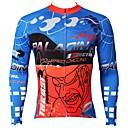 voordelige Wielrenshirts-ILPALADINO Heren Lange mouw Wielrenshirt - Blauw Fietsen Shirt Kleding Bovenlichaam Houd Warm Fleece voering Ultra-Violetbestendig Sport Winter Elastaan Bergracen Wegwielrennen Kleding