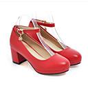 baratos Sapatos de Salto-Mulheres Sapatos Confortáveis Couro Ecológico Primavera Saltos Salto Robusto Branco / Preto / Vermelho