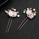 cheap Party Headpieces-Alloy Hair Stick with Faux Pearl / Crystals / Flower 1 Piece Wedding / Special Occasion Headpiece