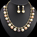 cheap Jewelry Sets-Women's Pearl Classic Jewelry Set Pearl, Gold Plated Ladies, Stylish, Unique Design, Elegant Include Drop Earrings Necklace Gold For Party Gift