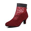 billige Dance Boots-Dame Dansestøvler Blonder / Syntetisk Høye hæler Spenne / Blonder / Sided Hollow Out Kubansk hæl Dansesko Svart / Lys Rød