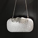 baratos Clutches & Bolsas de Noite-Mulheres Bolsas Seda Bolsa de Festa Botões / Detalhes em Cristal Côr Sólida Dourado / Prateado