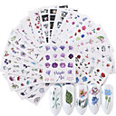 cheap Water Transfer Nail Stickers-24 pcs 3D Nail Stickers Water Transfer Sticker Flower nail art Manicure Pedicure Eco-friendly / Multi Function Fashion Daily