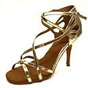 رخيصةأون أحذية لاتيني-نسائي أحذية رقص ستان صندل / كعب مشبك كعب مثير مخصص أحذية الرقص ذهبي