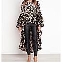 cheap Bike Frame Bags-Women's Flare Sleeve Asymmetrical Loose A Line Dress - Leopard Print Spring White Yellow L XL XXL