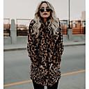 povoljno Ženske sandale-Žene Dnevno Osnovni Normalne dužine Faux Fur Coat, Leopard Klasični rever Dugih rukava Umjetno krzno Braon