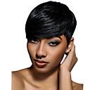 baratos Perucas de Cabelo Humano Sem Touca-Perucas de cabelo capless do cabelo humano Cabelo Humano Ondulado Ondulado Natural Corte Pixie Com Franjas Para Mulheres Negras Peruca