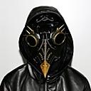 billige Anime Kostymer-Plague Doctor Steampunk Kostume Alle Maskerade Maske Svart Vintage Cosplay Chrome Kunstlær