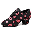 cheap Jazz Shoes-Women's Jazz Shoes Elastic Fabric Oxford / Sneaker Thick Heel Customizable Dance Shoes Black / Red