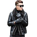 cheap Cell Phones-Men's Daily Basic Regular Leather Jacket, Solid Colored Turndown Long Sleeve Lambskin Brown / Black XXL / XXXL / 4XL / Slim