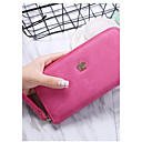 cheap Wallets-Women's Bags Leather Wallet Solid Color Almond / Fuchsia / Wine
