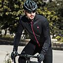 tanie Spodnie, szorty i getry rowerowe-SANTIC Męskie Koszulka rowerowa Rower Dżersej Top Keep Warm Odporność na wiatr Polarowa podszewka Sport Jednokolorowe Elastyna Czarny Kolarstwo górskie Kolarstwie szosowym Odzież Odzież rowerowa